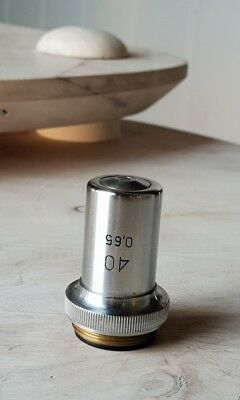 Soviet Vintage Objective Lens 40x 0.65 For Microscope Lomo Zeiss Rms