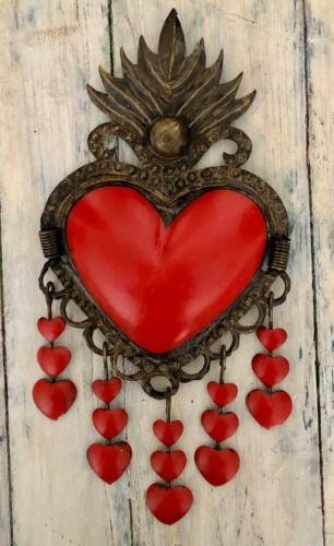Tin Heart with Hanging Hearts, Sacred Heart with Flames, Bronze Corazon