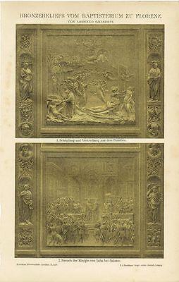 Farbtafel BRONZETÜR BAPTISTERIUM FLORENZ / GHIBERTI Original-Lithographie 1894