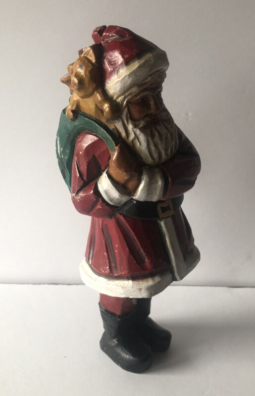 FOLK ART HAND CARVED WOOD 1985 SANTA CLAUS CHRISTMAS FIGURE BY PETER HUANG