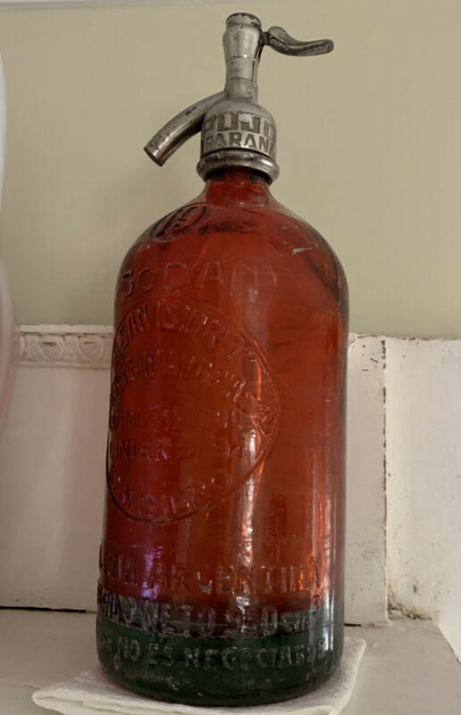RARE Vintage ~ARGENTINA RED SELTZER~ Siphon SODA BOTTLE