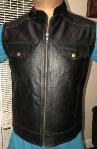 Men's Black Buffalo Split Leather Vest Biker Coat-motorcyc