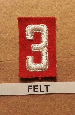Felt Number - BSA RED FELT TROOP UNIT NUMBER 3 - (MINT CONDITION) GAUZE BACK 1927~1952  FB006