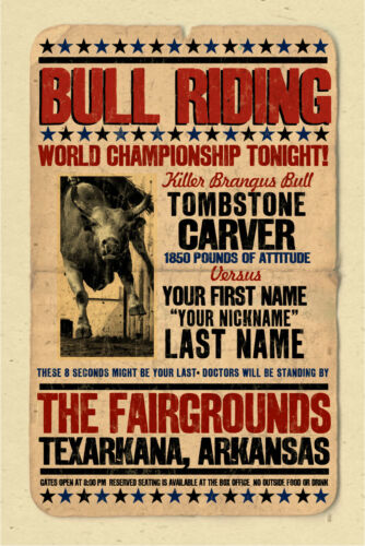 YOUR NAME on a Bull Riding Rodeo Championship poster Personalized - cool gift
