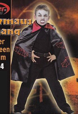 Fledermaus Kostüme Jungen (Fledermaus Vampir - Kostüm für Kinder Junge und Mädchen Größe 116 Umhang)