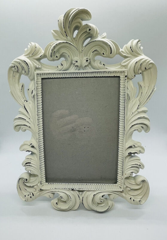 """White Distressed Pic Photo Frame Hand Carved Wood Hand Crafted Ornate 5"""" X 7"""""""