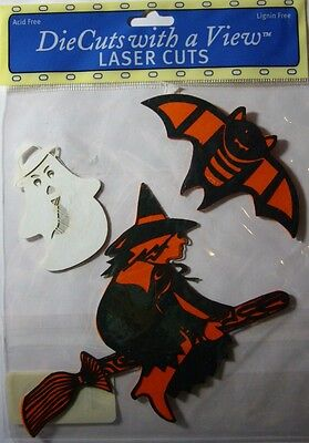 NEW 3 pc HALLOWEEN DIECUTS LASER CUTS Witch Broom Ghost Bat Die Cuts - Halloween 3 Laser