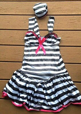 SEXY PRISIONER COSTUME HALLOWEEN STRIPED MINI DRESS CAP BALL'N CHAIN WOMENS M](Prisioner Costumes)