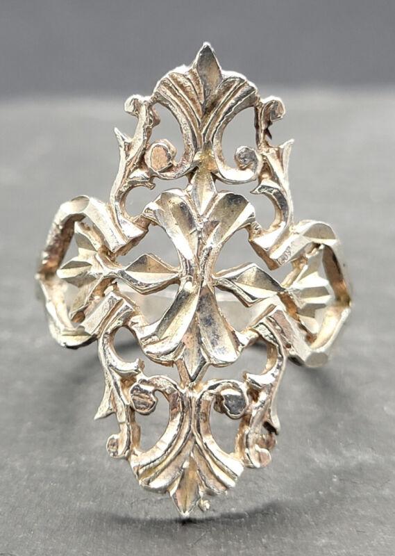 Vintage 925 Sterling Silver Modernist Brutalist Ring Size 5.75