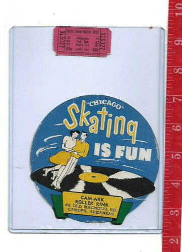 vintage lot roller rink decal Cam-Ark roller rink Camden Arkansas & ticket