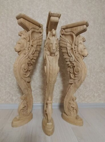 """38"""" Wooden stairs Baluster Newel, oak carved  gryphon statue, decorative element"""