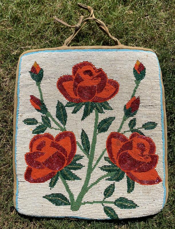 Antique 1910's Plateau Nez Perce Native American Floral Rose Beaded Flat Bag