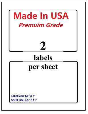 400 Premium Shipping Blank Labels-7 X 4.5-made In Usa-self Adhesive-8.5 X 11