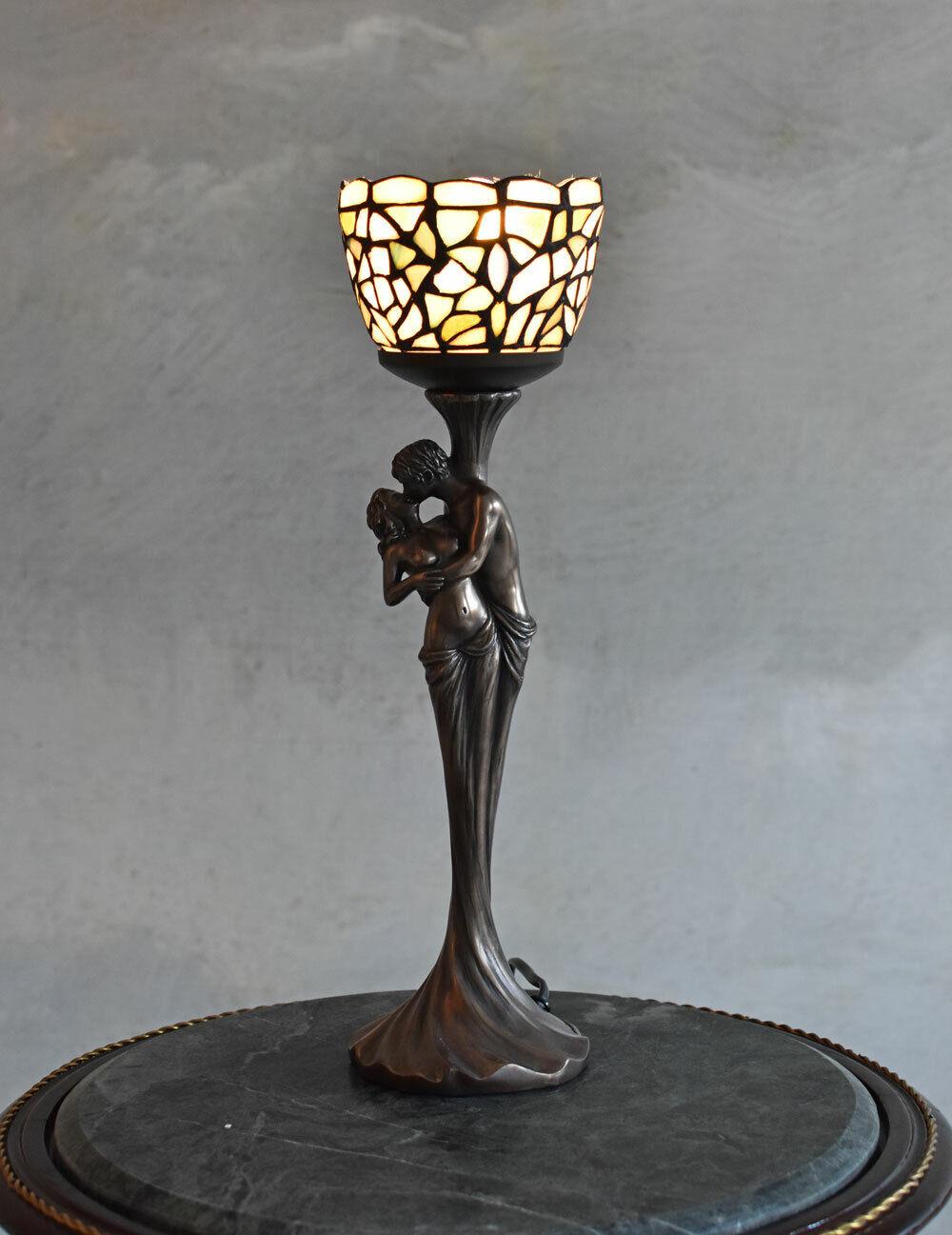 VINTAGE LAMPE FIGUREN TISCHLEUCHTE TIFFANY TISCHLAMPE ART NOUVEAU LEUCHTE ANTIK