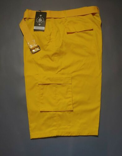 SZ 50 YELLOW CARGO SHORTS w/ MATCHING BELT SIZE 32-56