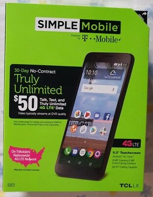 """New Simple Mobile TCL LX 4G LTE Prepaid Cell Phone 5.3"""" 16GB 8MP Android 8"""
