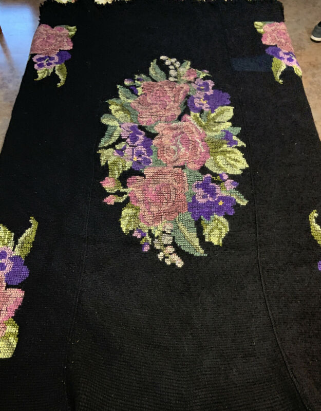 Rare Victorian Heavy Knit Cross Stitch Wool Blanket Floral Afghan Antique 55x66