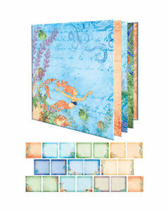 OCEANA-8x8-INSTANT-ALBUM-scrapbooking-JUST-ADD-PHOTOS-Seashells-Mermaids