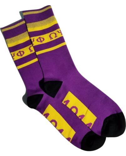 Omega Psi Phi Fraternity Inc Que Dress Socks Purple & Gold Size 9-13