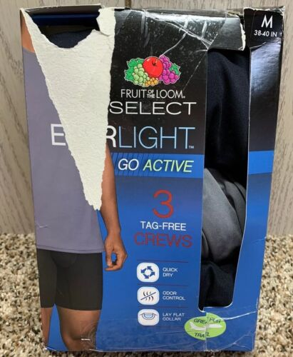 Fruit of the Loom Select Mens 3 Pack Sz M EVERLIGHT Go Activ