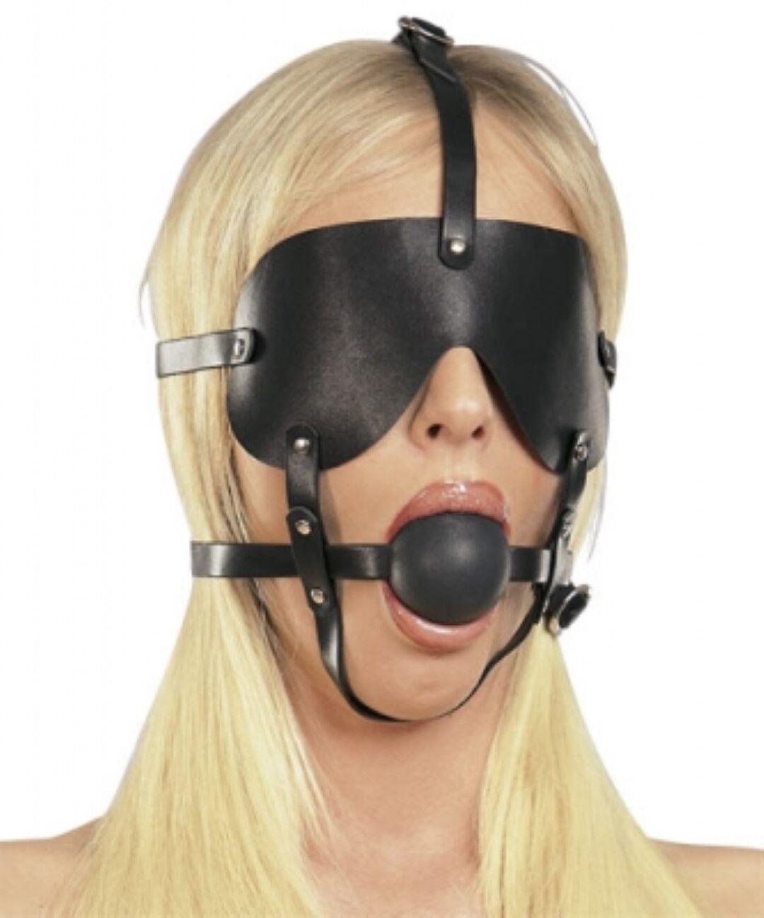 Bondage Kopfgeschirr Ball Mund Knebel 45mm schwarz Mundknebel Augenbinde Maske