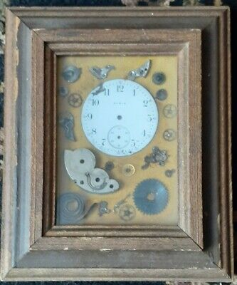 Vintage Framed ELGIN Pocket Watch Face&Watch Parts in Small wood Shadow Box