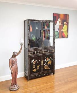 Vintage Glazed Display Cabinet Bookcase Oriental Black Lacquered