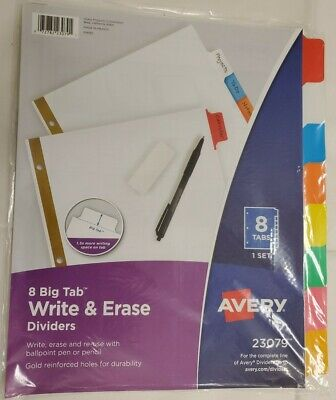 Avery Write Erase Big Tab Paper Dividers 8-tab.