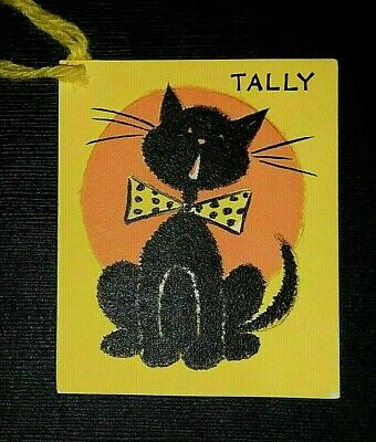 Vintage *UNUSED* Halloween Tally Card: Singing Black Cat With Bow *Hallmark*