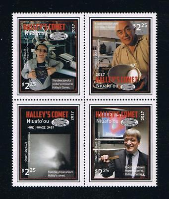 Niuafo'ou - 2017 Halley's Comet Postage Attached Block of 4