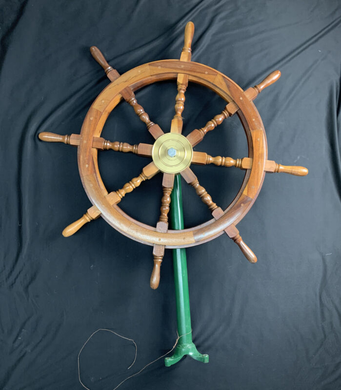 "NAUTICAL 36"" WOODEN SHIP STEERING WHEEL PIRATE DECOR WOOD BRASS WALL BOAT STYLE"