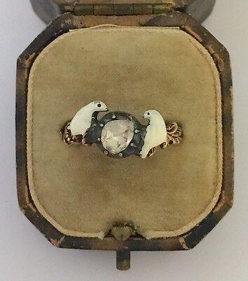 A Novelty Georgian Rose Cut Diamond & Enamel Double Dove Ring Circa 1800's