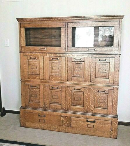 """Oak Antique Stacking Lawyer Office Library File Bookcase Cabinet Detroit MI 62""""T"""
