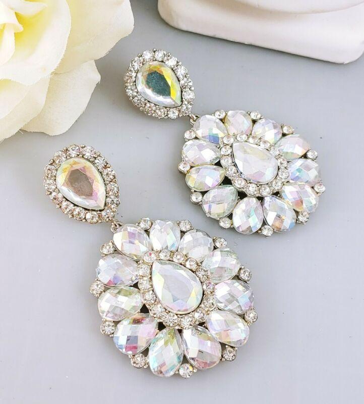 HUGE Haute Couture Runway Silver tone Faceted Rainbow Rhinestone Dangle Earrings