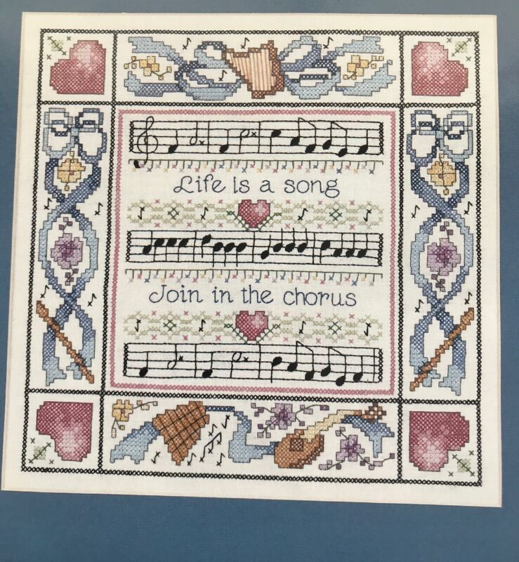 LIFE IS A SONG Music STAMPED CROSS STITCH COMPLETE KIT