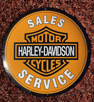 VINTAGE HARLEY DAVIDSON MOTOR DEALER PORCELAIN SIGN GAS OIL SERVICE PUMP PLATE