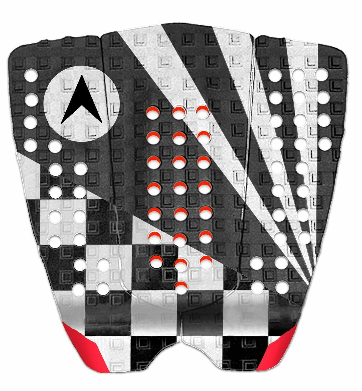 Astrodeck John John Surfboard Tail Pad In White-Grey Red From Astodeck