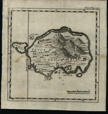 Sao Tome St. Thomas Gulf of Guinea Africa 1725 rare miniature engraved map