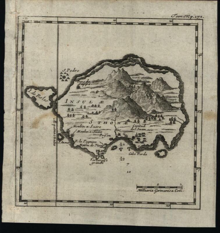 Sao Tome St. Thomas Gulf of Guinea Africa 1725 rare miniature engraved map