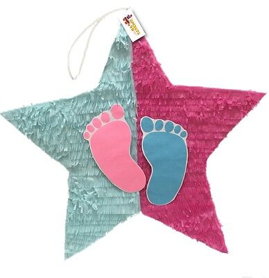 APINATA4U Gender Reveal Star Pinata with Pull Strings Pink & Blue Color](Pinata With Strings)