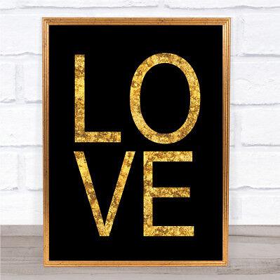 Black & Gold Love Quote Wall Art Print Black Gold Art Print