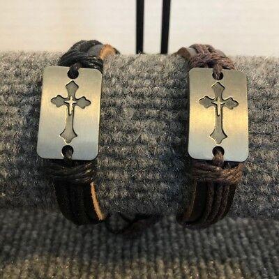 Handmade Cross Style Braid Hemp Genuine Leather Bracelet ()