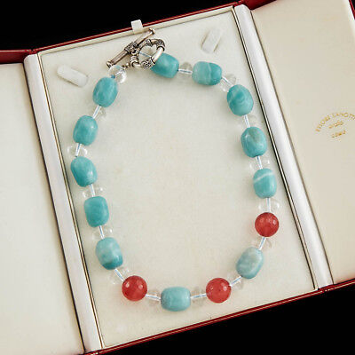 Antique Vintage Deco Retro Sterling Silver Larimar Cherry Quartz Bead Necklace