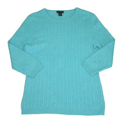 Only Mine 100% Cashmere Sweater Medium Cable Knit Women's Light Blue
