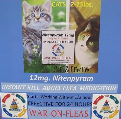 Flea Control Pills Capsules Cats 2Lbs  25Lbs 12 Pack 1 Free Cap  Great Reviews