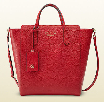 Auth GUCCI Pebbled Leather Zip-Top Swing Tote #368824 ~ Tabasco Red ~ NWT