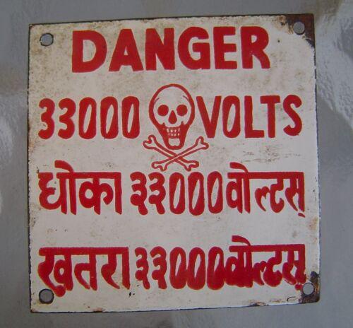 Vintage 33000 Volts Danger Porcelain Sign - Skull and Crossbones