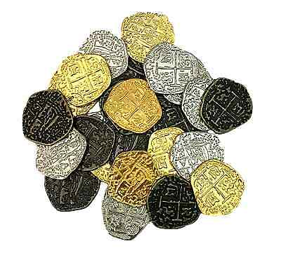 Metal Pirate Coins - Set of 30 Gold and Silver Doubloon Replicas