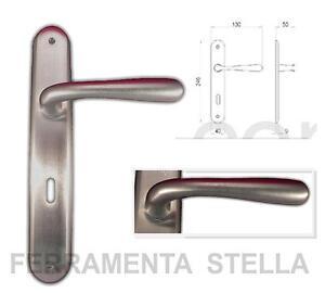 Coppia maniglie maniglia con placca cromo satinato porte porta interne interni - Maniglie porte interne cromo satinato ...
