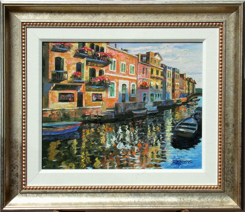 "Howard Behrens ""venetian Balconies"" Hand Embellished Signed Art Giclee On Canvas"